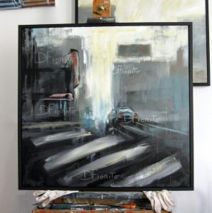 """""""La rue, 06 mars 2015"""". Acrylique sur toile 36 x 36 po. (91,5 x 91,5 cm)."""