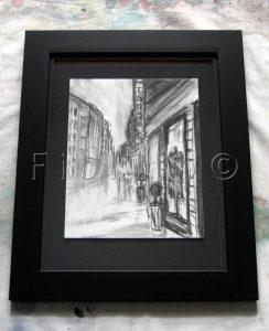 """""""La rue (tango), 02-2010"""". Fusain sur papier canson 8 x 10 po. (20,3 x 25,4 cm) dans un cadre 11 x 14 po. (27,9 x 35,5 cm)."""