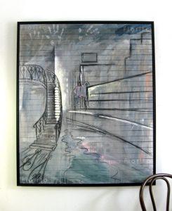 """""""Montréal, 19-04-2017, l'escalier"""". Acrylique et fusain sur toile, 40×48 po. (101×122 cm)."""