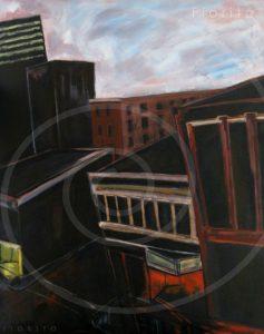"""VENDU-SOLD """"Montréal, les toits"""", 01-01-2005. Huile sur toile, 48 x 60 po. (121,9 x 152,4 cm)."""
