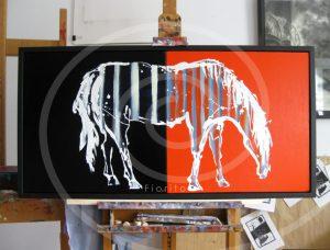 """VENDU-SOLD """"Cheval zébré, 2011"""". Huile sur toile, 20 x 40 po. (50,8 x 101,6 cm)."""