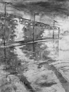 """""""L'usine après l'orage"""" 10 décembre 2015. Fusain sur papier Fabriano 18 x 24 po. (46 x 61 cm)."""