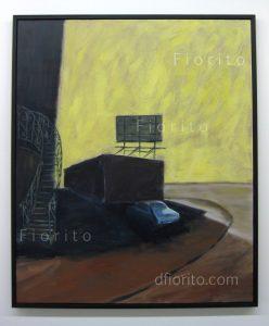 """""""L'escalier, 02 juillet 2013"""" Acrylique sur toile. 40 x 48 po. (102 x 122 cm)."""
