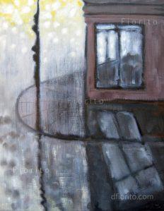 """""""Mile End, 01-01-2014"""". Huile sur panneau de masonite, 11 x 14 po (28 x 36 cm)."""