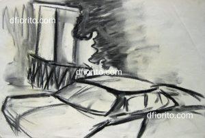 Rue. 1990. Fusain 12 x 16 po (30,5 x 40,5 cm)