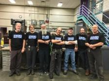 Denver, from left to right - Dave Kunz, Jeff Humphrey, Eriks Rumberge, Joe Kandalec (machinists) Martyn Botten (dispatch clerk) Chris Wint (electrician) Jeff Pendleton (machinist)