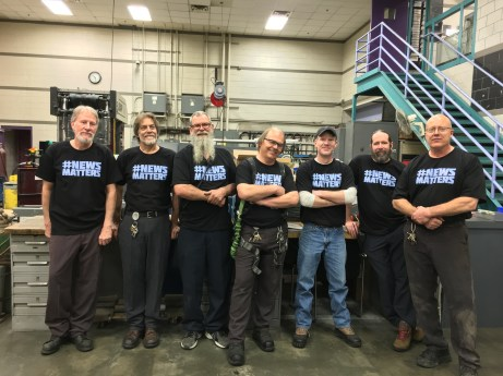 Denver, from left to right - Dave Kunz, Jeff Humphrey, Eriks Rumberge, Joe Kandalec (machinists) Martyn Botten (dispatch clerk) Chris Wint (electrician) Jeff Pendleton (machinist)