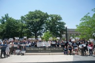 DENVER, CO. - JUNE 17: The Denver Newspaper Guild held a rally outside The Denver Post condemning downsizing actions by owner Alden Global Capital.