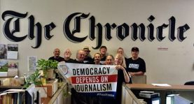 San Francisco Chronicle workers supporting our May 3 action (California).