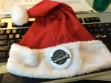One of the Santa hats with a Guild button attached that Detroit Guild members at The Macomb Daily/Daily Tribune wore or draped over their cubicles as a mobilizing tactic a few days before Christmas while the Michigan publisher was in the office. Norb Franz
