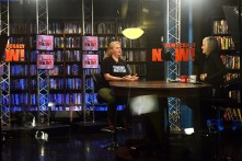 Denver Post reporter Noelle Phillips on the set of Democracy Now! Photo by Tania Barricklo