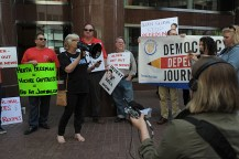 Journalists from Digital First Media papers protest their owners, Alden Global Capitol, outside their headquarters in New York City, Tuesday, May 8, 2018. (Photograph by Karl Mondon)