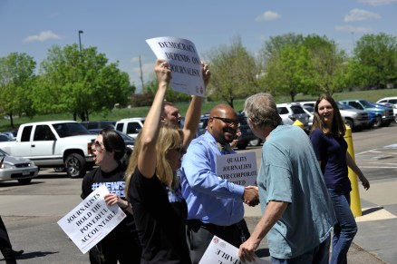 Current and former Denver Post staff and supporters rally against Alden Global Capital in 2016 | Photo by Patrick Traylor