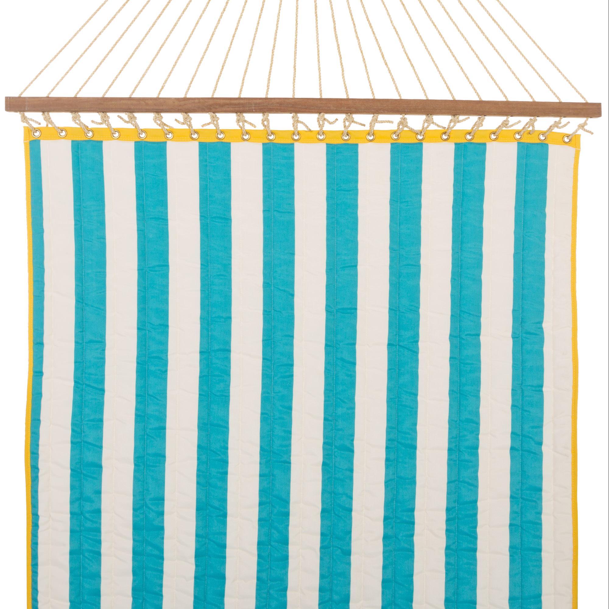 Turquoise Cabana Stripe Large Quilted Hammock