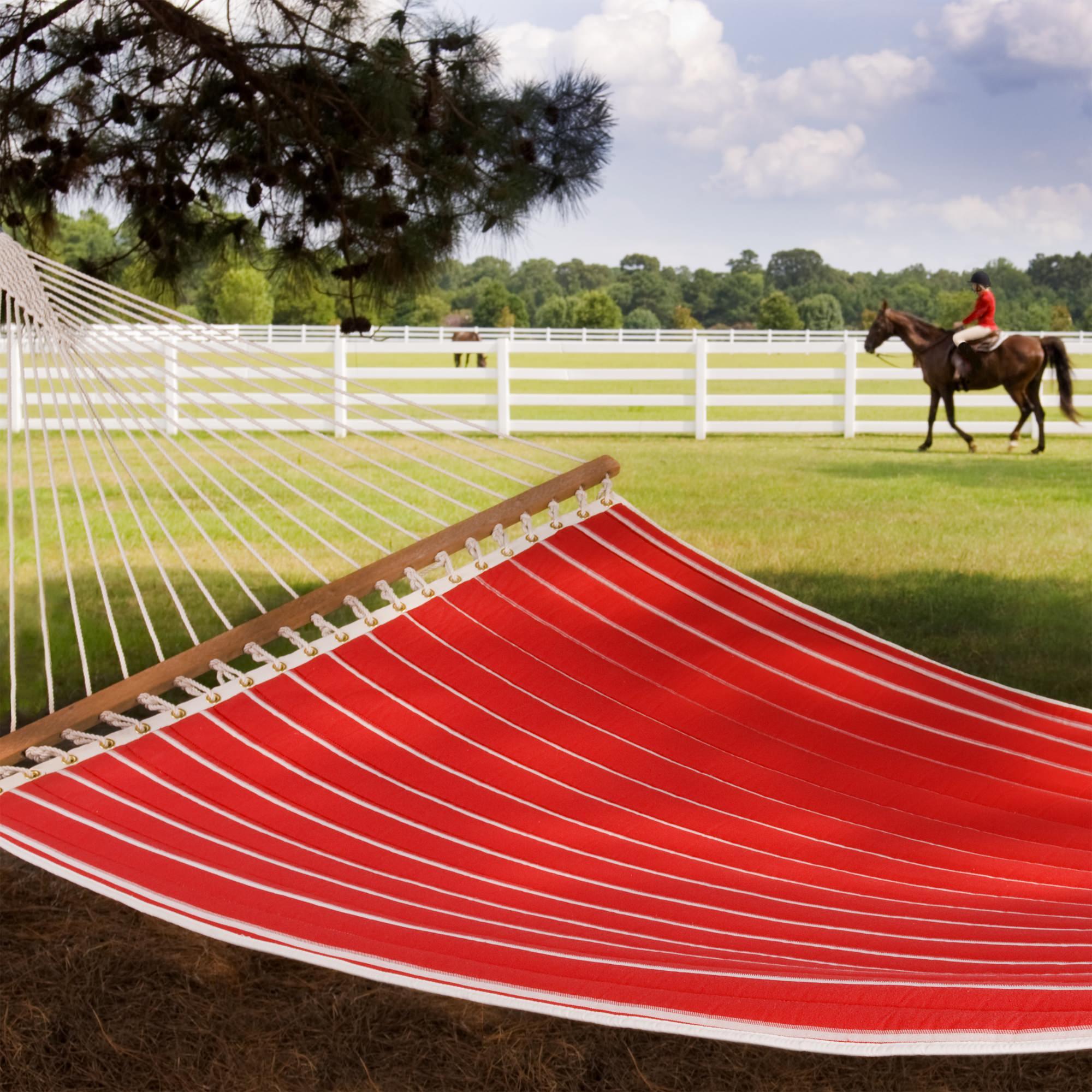 Hatteras Hammocks Classic Red Stripe Quilted Hammock