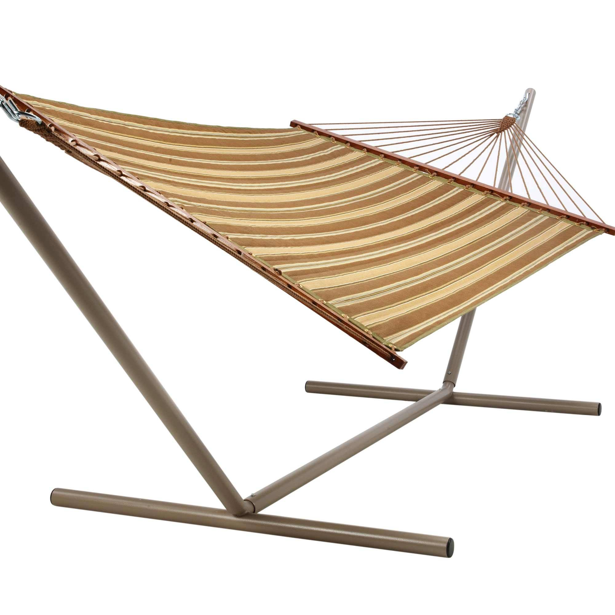 Castaway Hammocks Beau Green Amp Brown Stripe Quilted