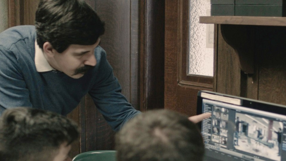 Mr. Furtado teaches students digital film editing.