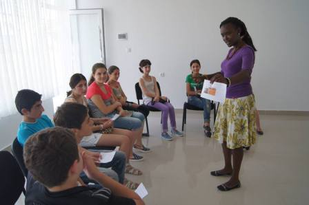 Chemtai Yegon teaching children in Gori. She thinks that living in Georgia is different for black skin foreigners and different for white skin foreigners