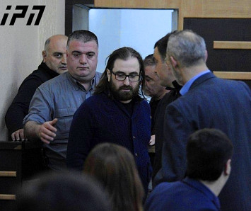 Priest Giorgi Mamaladze, who is on trial for plotting to murder a church adviser, appearing in Tbilisi City Court on Friday