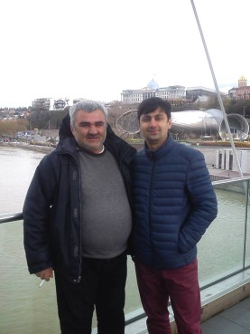 Kamran Mahmudov (right) with Afgan Mukhtarli, another Azerbaijani journalist whose abduction in Tbilisi in May caused outrage