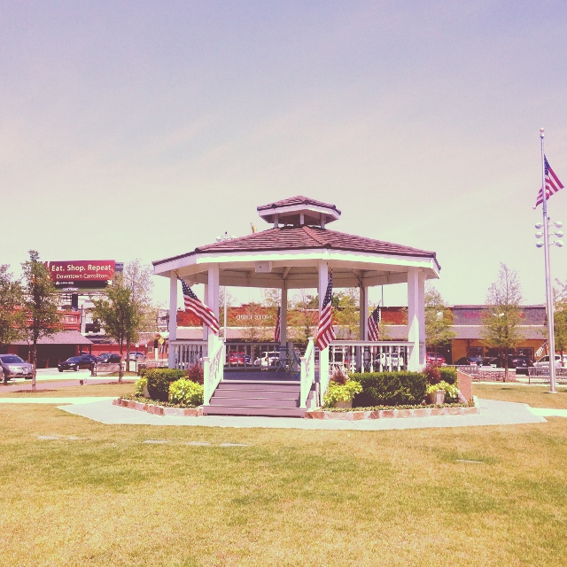 The pavillion in the center of the town square of Carrollton, Texas
