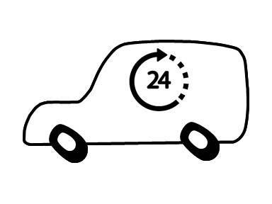 Visual aid icon for after-hours courier delivery service.