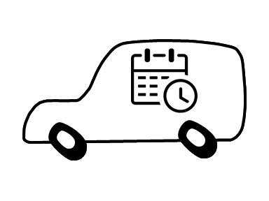 Visual aid icon for scheduled courier delivery service.