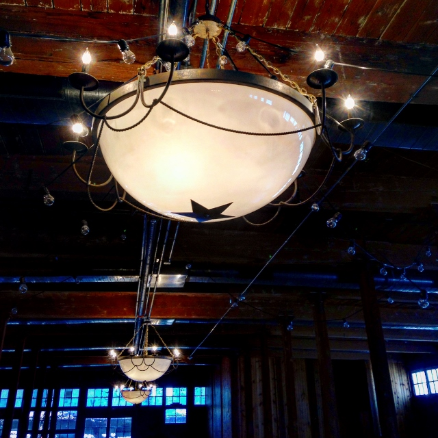 Texas-themed light fixtures in the historic Cotton Mill in McKinney, Texas.