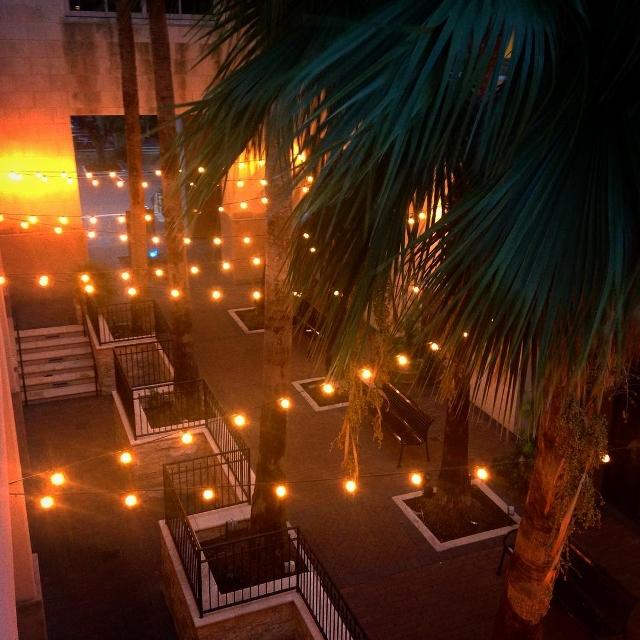 Decorative lights illuminate a retail area in Plano, Texas.