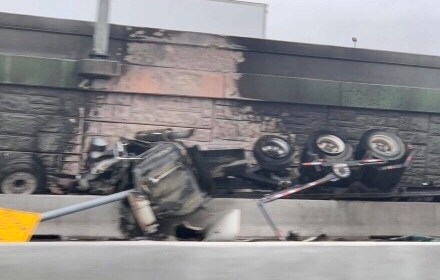Tractor-trailer crashes into express lanes of Highway 183, bursts