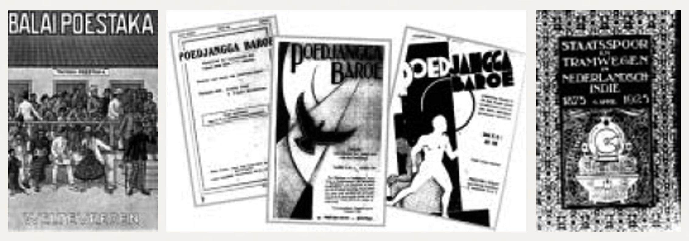 Gambar 7. (a) Poster kampanye penggalakan minat baca dari Balai Poestaka di awal abad ke-20 dengan gaya ilustrasi dan huruf modern; (b) Beberapa terbitan buku Pujangga Baroe dengan gaya ilustrasi dan tata letak yang lebih modern; (c) Buku Staats Spoor tramwegen en Nederlandsch Indie dengan gaya Art Deco.