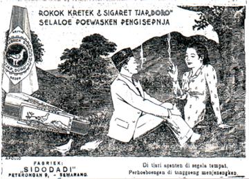 "Iklan rokok cap ""Doro"" tahun 1931, menampilkan sosok wanita bercengkerama dengan pria di alam bebas sambil menghisap rokok. (Sumber: Buku Sejarah Periklanan Indonesia, PPPI)"