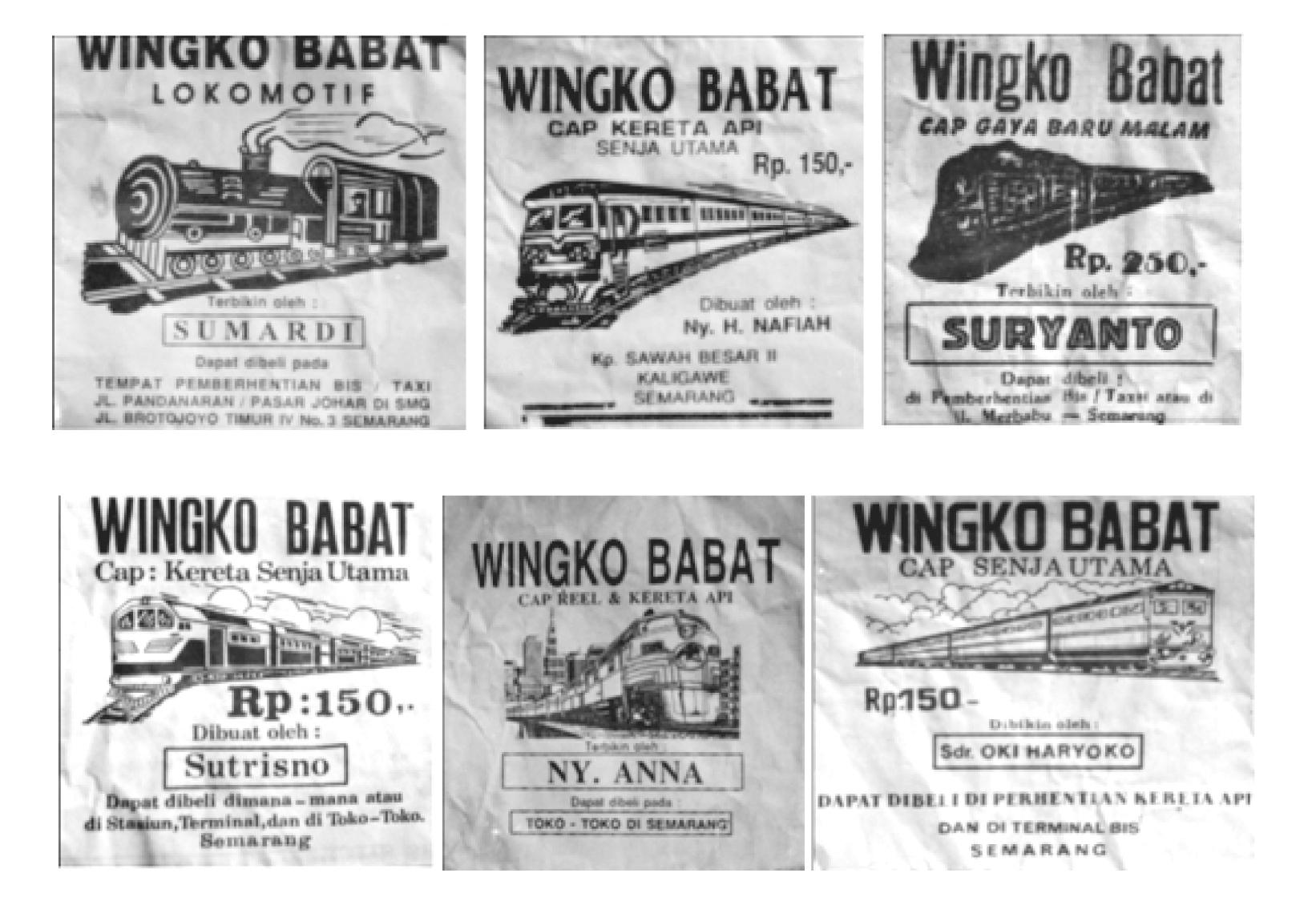 Merek-merek kemasan Wingko Babat bernuansa kereta api.  (Sumber: Afnita, 2010:102)
