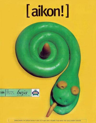 Sampul depan Majalah Aikon!, Edisi No. 123, April 2001, desain grafis: Enrico Halim, ilustrasi: Samuel Indratma.