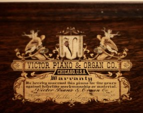 Victor Piano Shelf (detail of Victor Piano & Organ Co. decal)