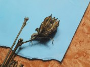 """""""Absolute: Moment"""" (detail), Oil paint on reclaimed quilted maple. 11 1/2"""" x 18 1/2"""" 3.9.16."""