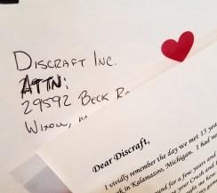Discraft Disc Golf Valentines Letter