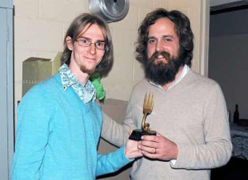 Me with Iron & Wine in 2010, presenting him a Golden Fork Award trophy (the first ever made)
