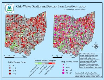 Map by Kim Michalson. This 2010 map shows the location of major factory farming operations in Ohio and corresponding water quality readings. Ohio has among the highest density of CAFOs (Concentrated Animal Feeding Operations) of any U.S. state.