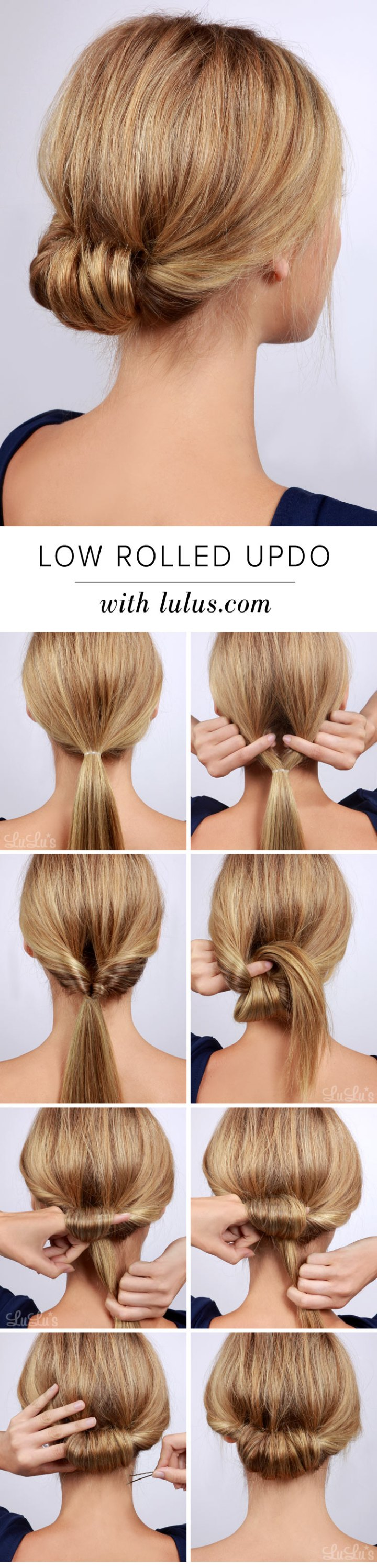 Lulus How To Low Rolled Updo Hair Tutorial Lulus Fashion Blog