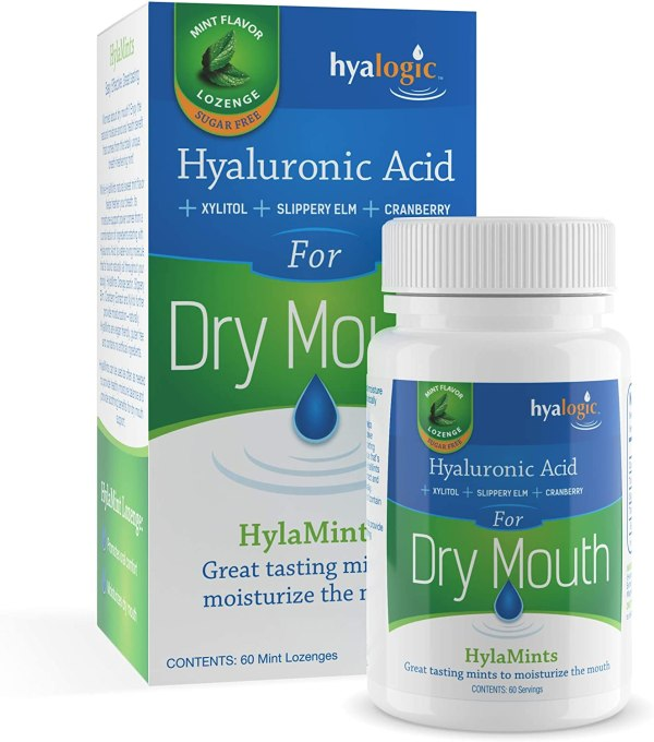 HylaMints for dry mouth are all-natural breath mints with Xylitol, made by Hyalogic.