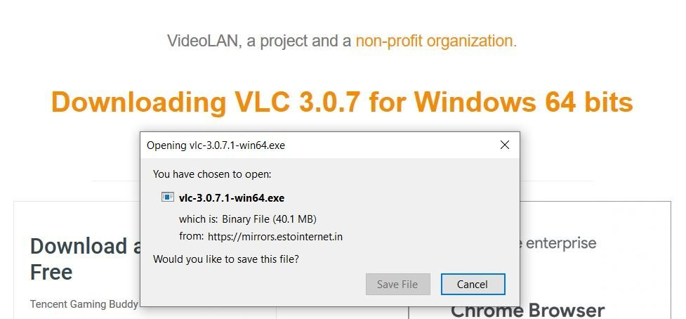Image of affected VLC Player downloading.