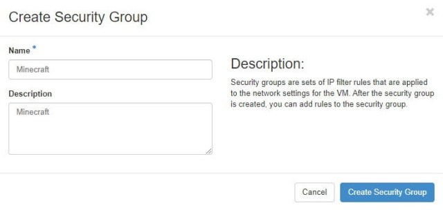 The DreamCompute security group creation screen.