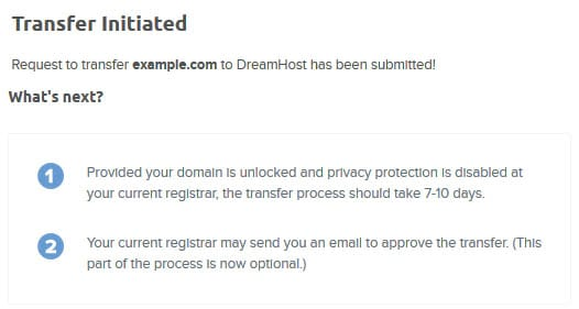 Notification showing 'Transfer Initiated' submitted and next steps.