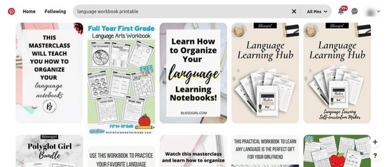 Printable language workbooks on Pinterest.