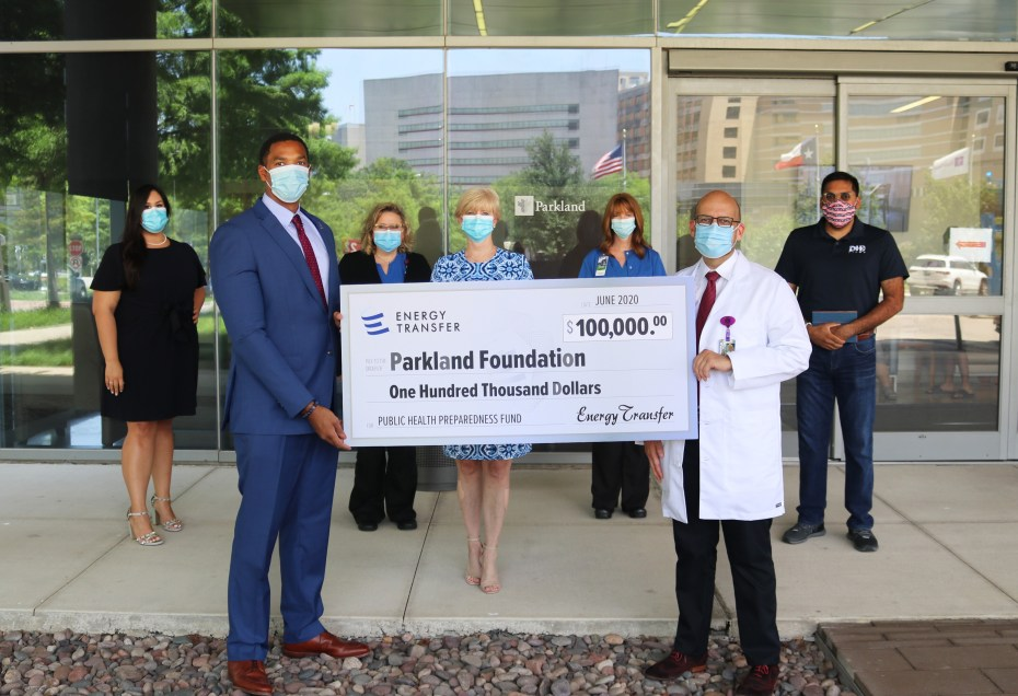 Energy Transfer donating $100, 000 to Parkland Foundation's Public Health Preparedness Fund as a result of the #HealthcareHeroes campaign.