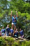 4 meters jump during the body rafting. At this level, the girls are still participating.