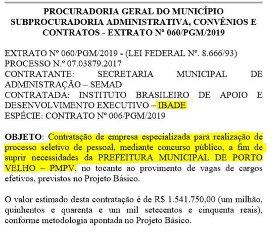 Concurso Prefeitura Porto Velho banaca definida