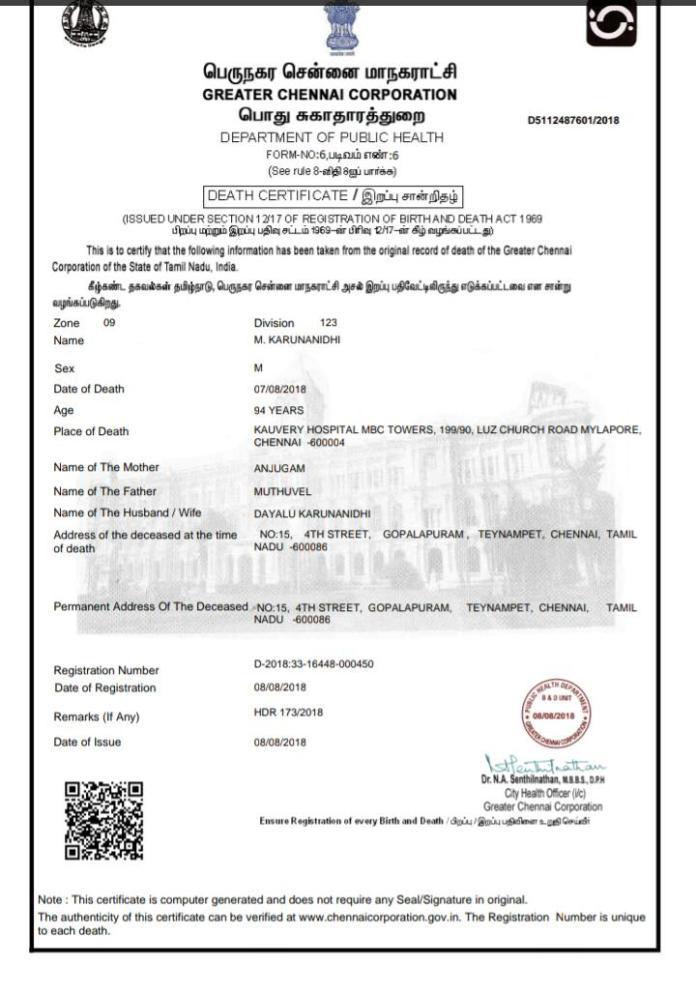 death certificate - 2