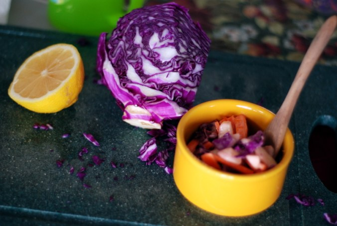 slaw with lemon and cabbage